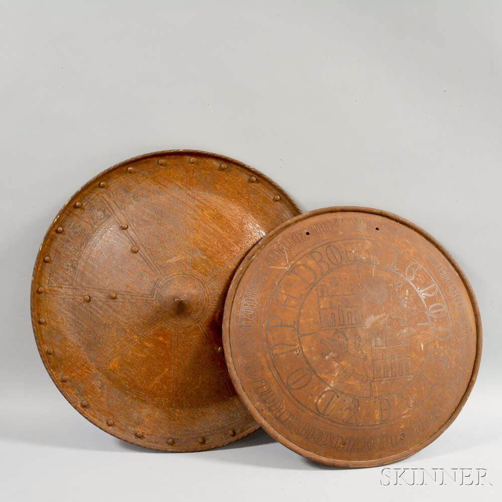 Two Engraved Arm Shields