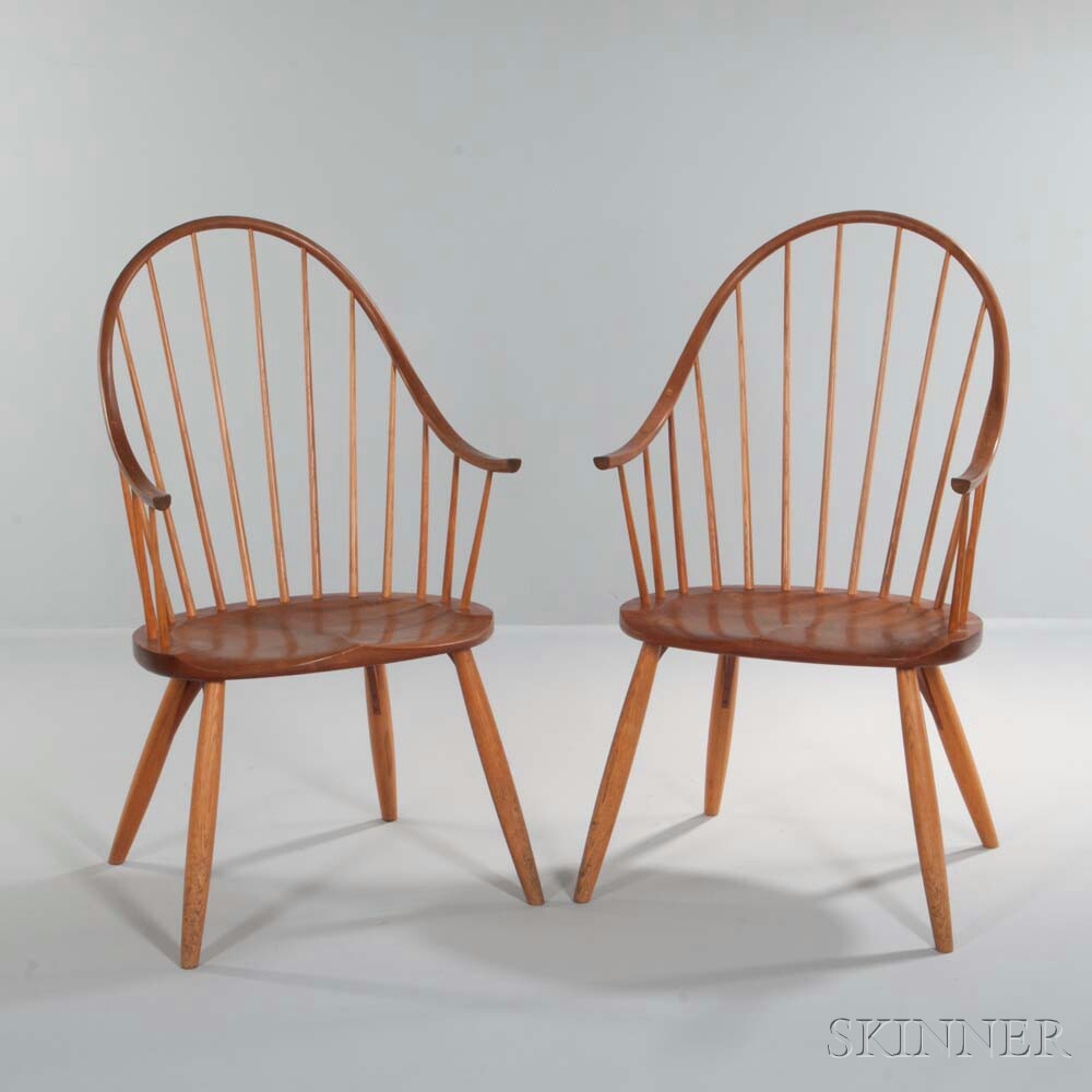 Pair of Thomas Moser Continuous Armchairs