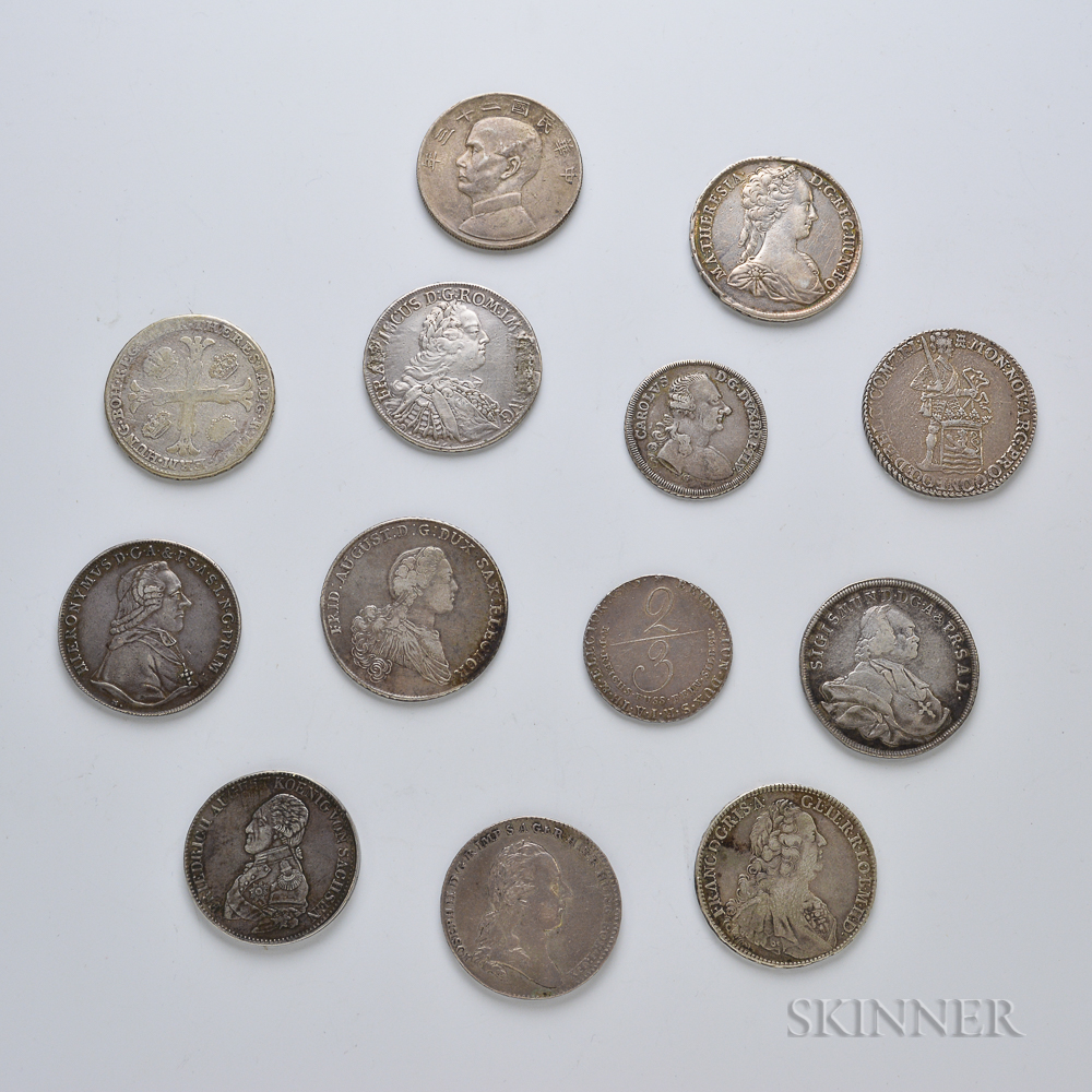 Thirteen Mostly European Silver Coins