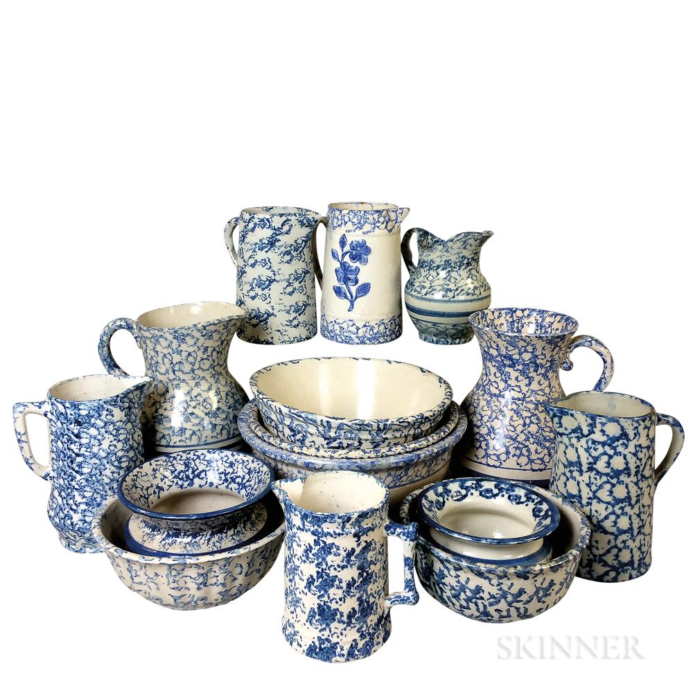 Fifteen Spongeware Ceramic Items.     Estimate $400-600