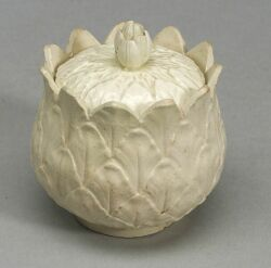 Staffordshire White Saltglaze Stoneware Custard Cup and Cover