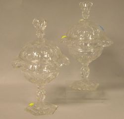 Pair of Anglo/Irish Colorless Cut Glass Covered Sweetmeat Jars.