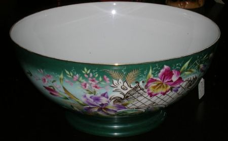 Large Late Victorian German Floral Decorated Porcelain Footed Punchbowl