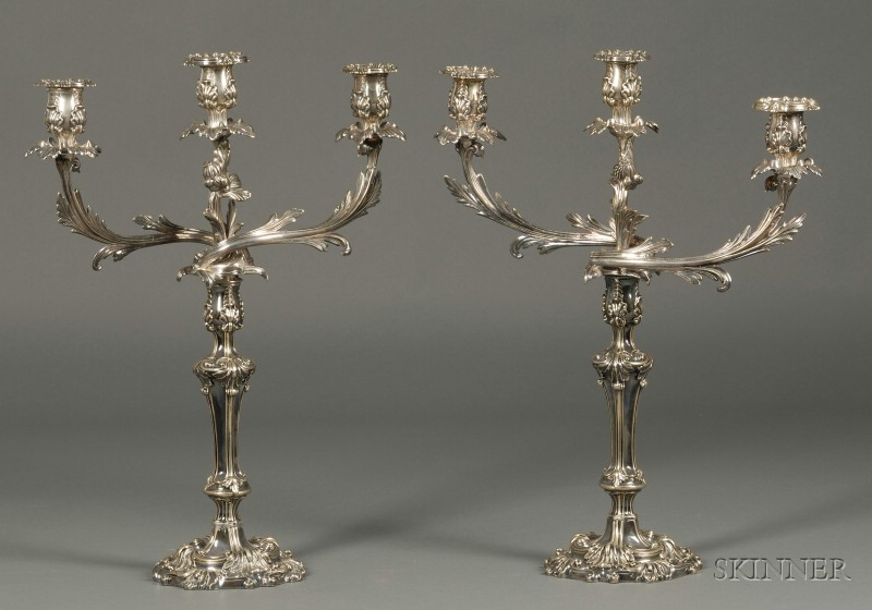 Pair of Silver Plated Three-light Candelabra