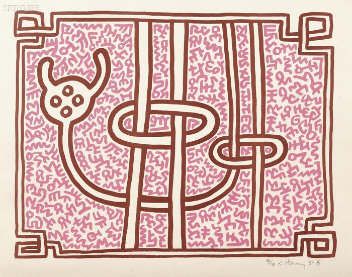 Keith Haring (American, 1958-1990)      Chocolate Buddha 5