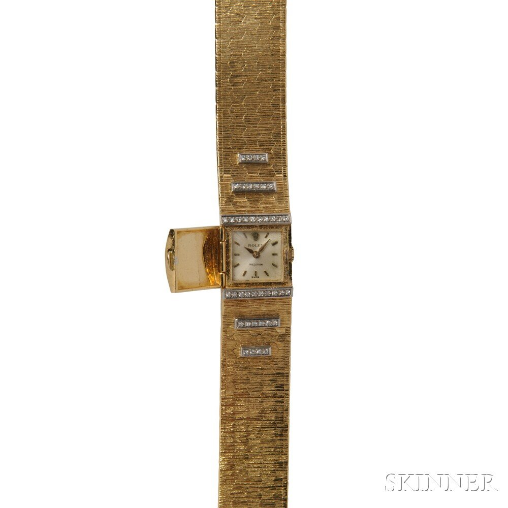 Lady's 18kt Gold and Diamond Covered Wristwatch, Rolex