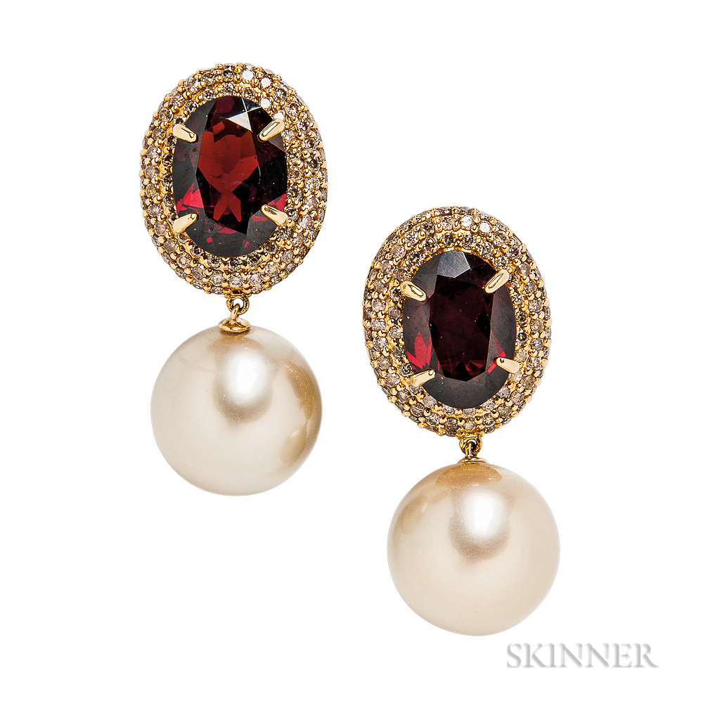 18kt Gold, South Sea Pearl, Garnet, and Diamond Earrings