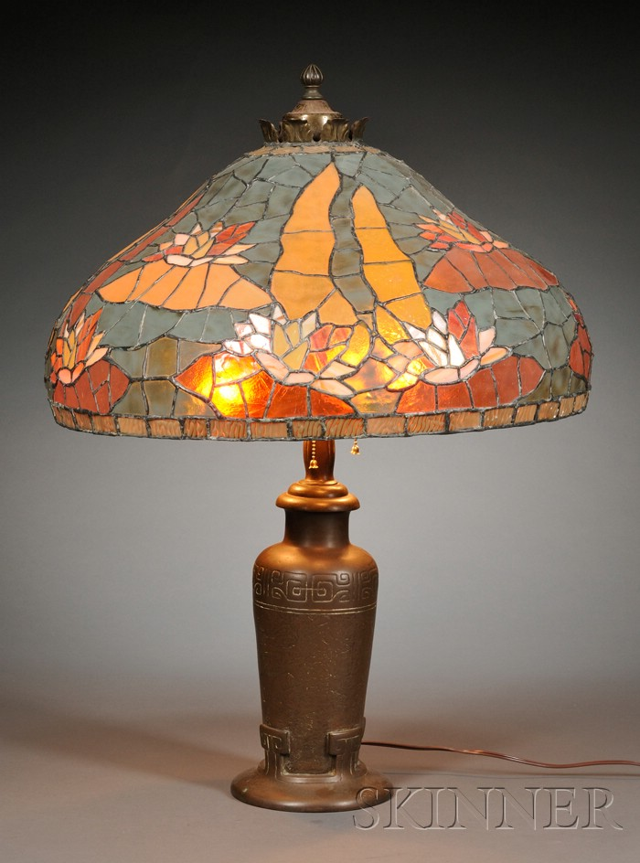 Handel Lamp Base and a Mosaic Glass Shade