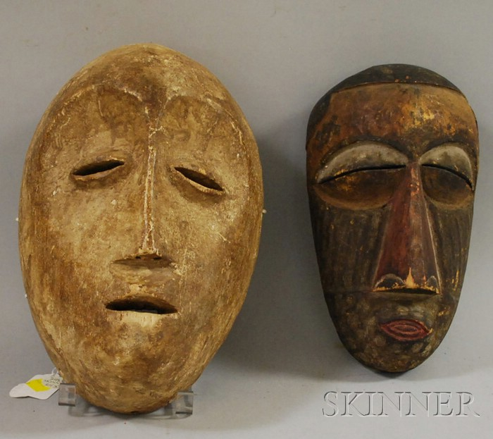 Two African Carved Wooden Masks