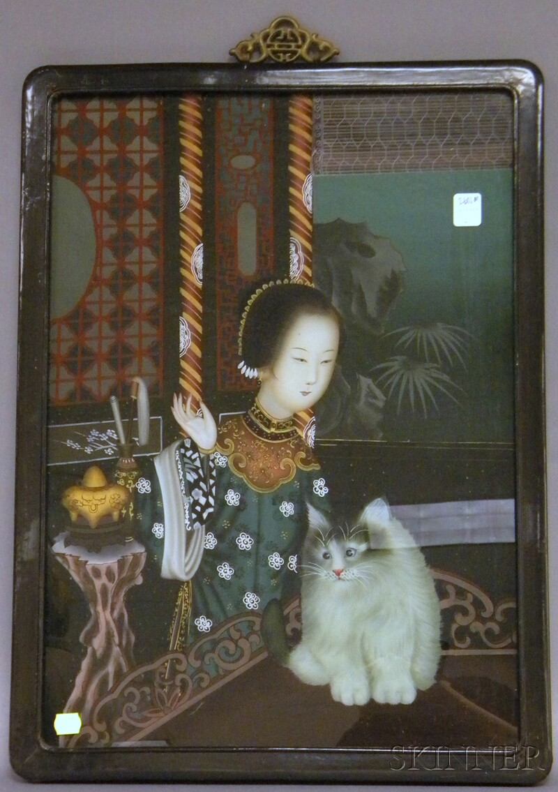 Chinese Export Reverse-painting on Glass Portrait of a Woman with a Cat