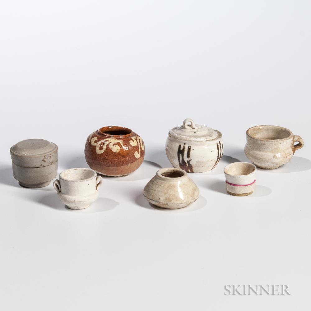 Seven Miniature Glazed Stoneware Items