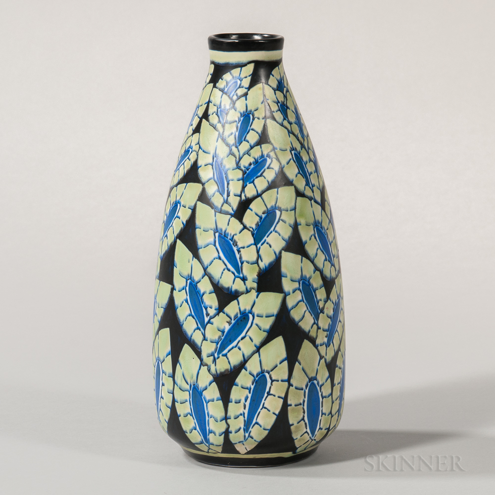 Boch Freres Keramis Blue Leaves   Vase