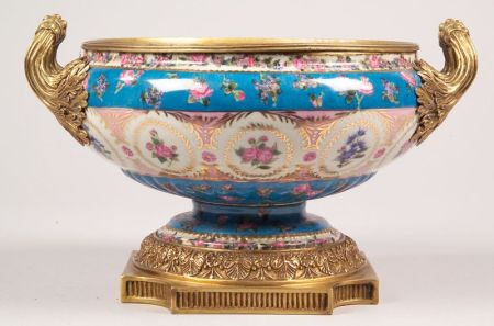 French-style Ormolu-mounted Hand-painted Porcelain Centerbowl