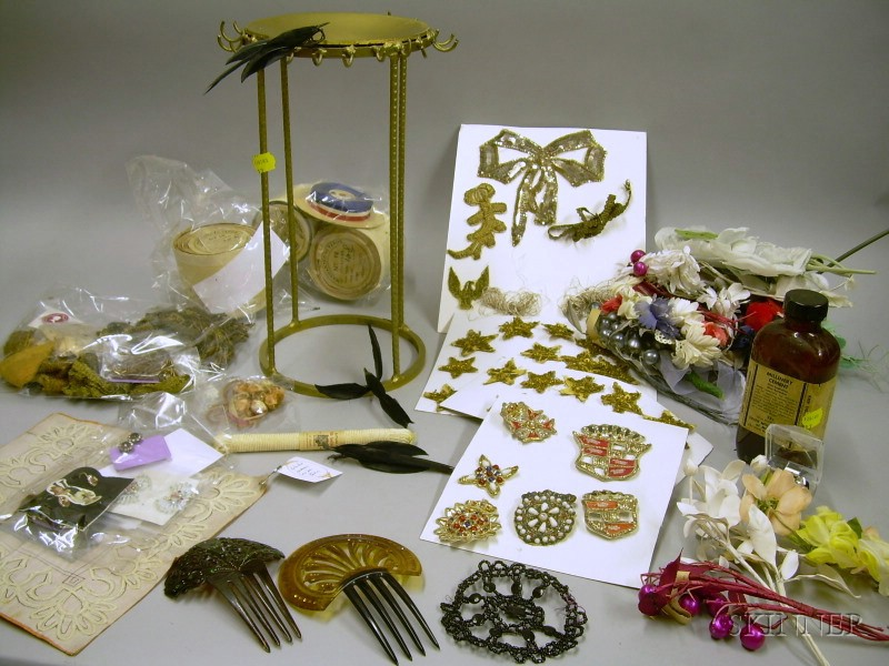 Lot of Antique Ribbons, Millinery Items, Metallic Thread Trims, Jewelry, and Other Accessories.