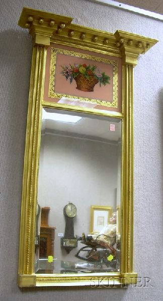 Federal-style Giltwood Tabernacle Mirror with Reverse-painted Basket of Fruit Glass   Tablet