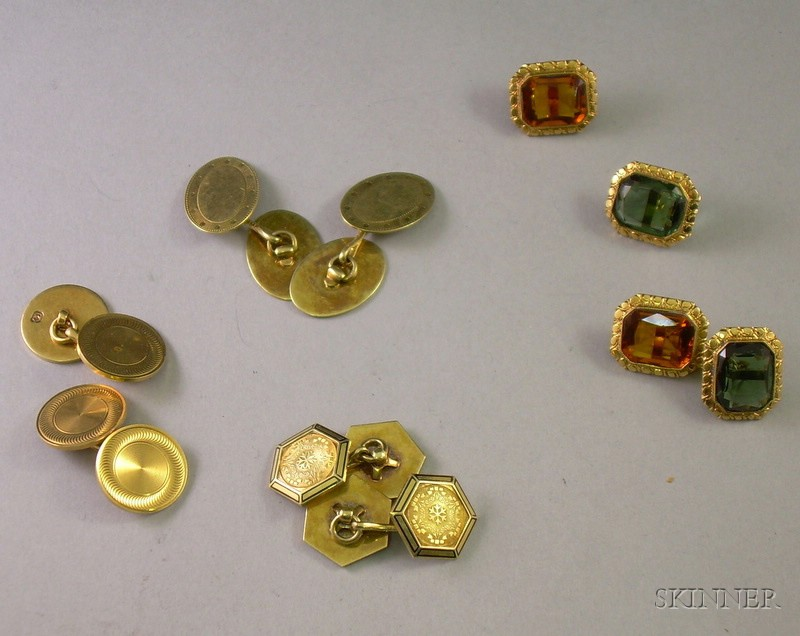 Four Pairs of 14kt Gold Cuff Links