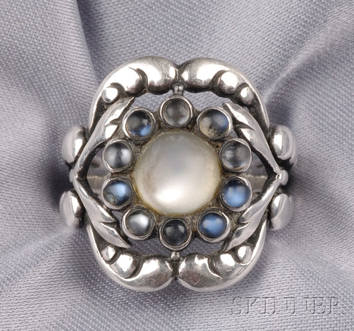 Sterling Silver and Moonstone Ring, Georg Jensen