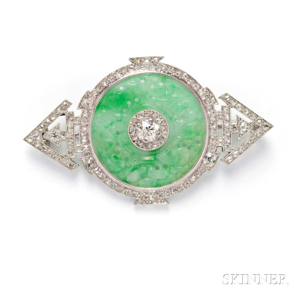 Platinum, Jade, and Diamond Brooch