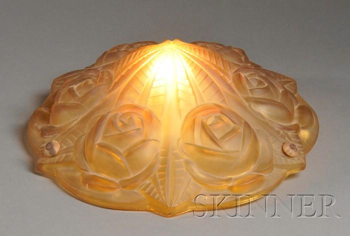 Degue Amber Glass Art Deco Shade
