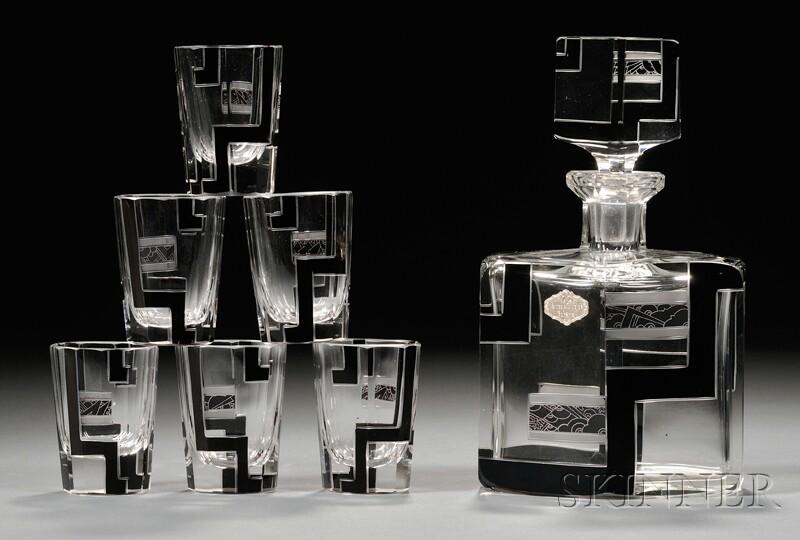 Seven-piece Art Deco Decanter Set