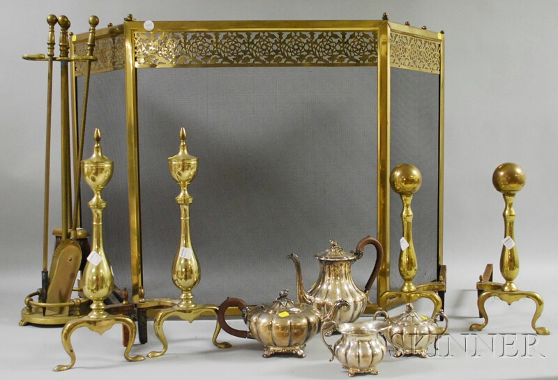 Two Pairs of Brass Andirons, a Reticulated Fireplace Fender, Folding Screen, and a Three-piece Fireplace Tool Set with Stand.