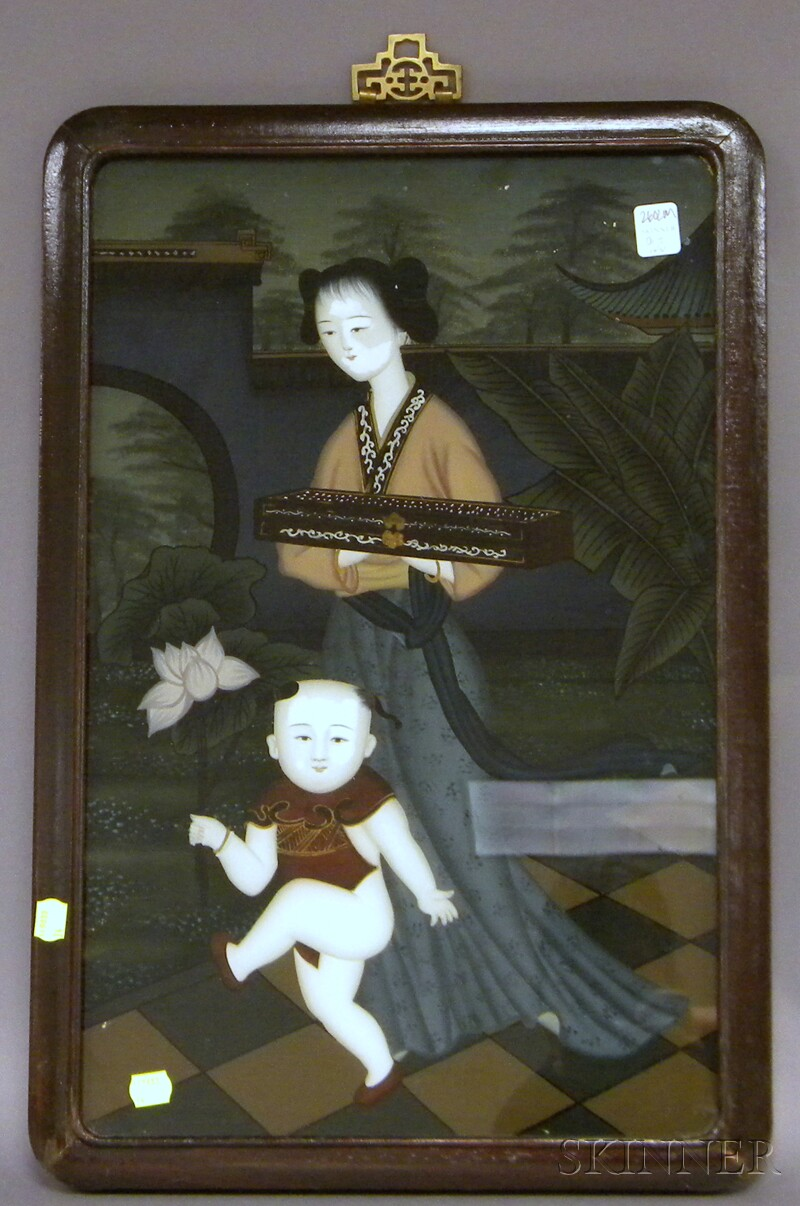 Chinese Export Reverse-painting on Glass Depicting a Young Woman and a Little Boy