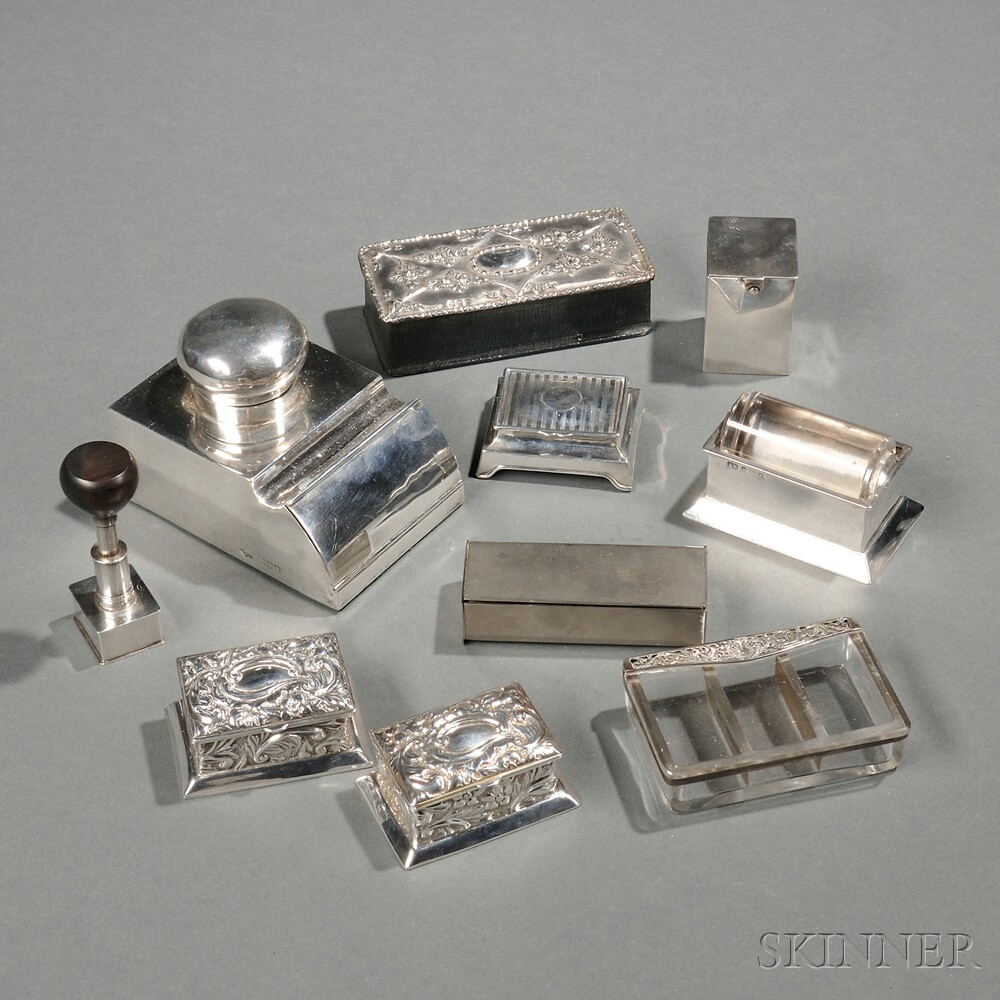 Six English Sterling Silver Stamp Boxes Applicators And Dispensers