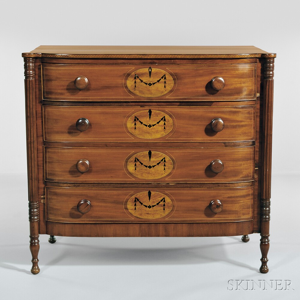 Mahogany and cherry inlaid elliptical front bureau sale for Bureau number
