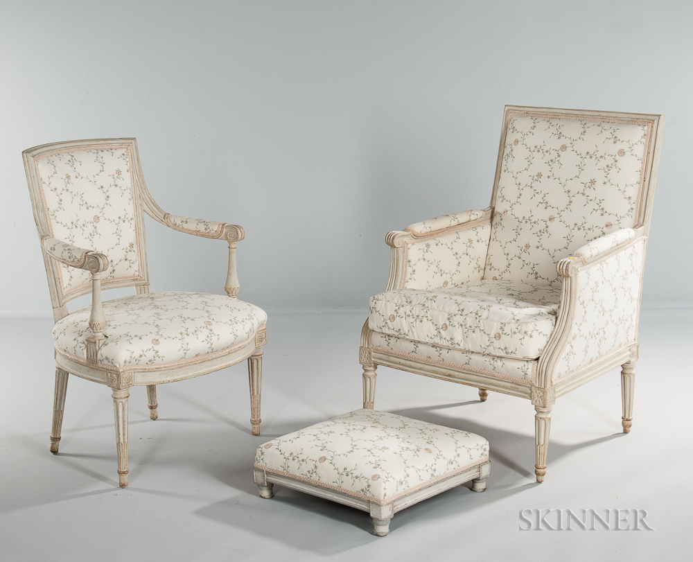 Modern Design Fauteuil.Louis Xvi Painted Bergere And Fauteuil And A Footstool Sale
