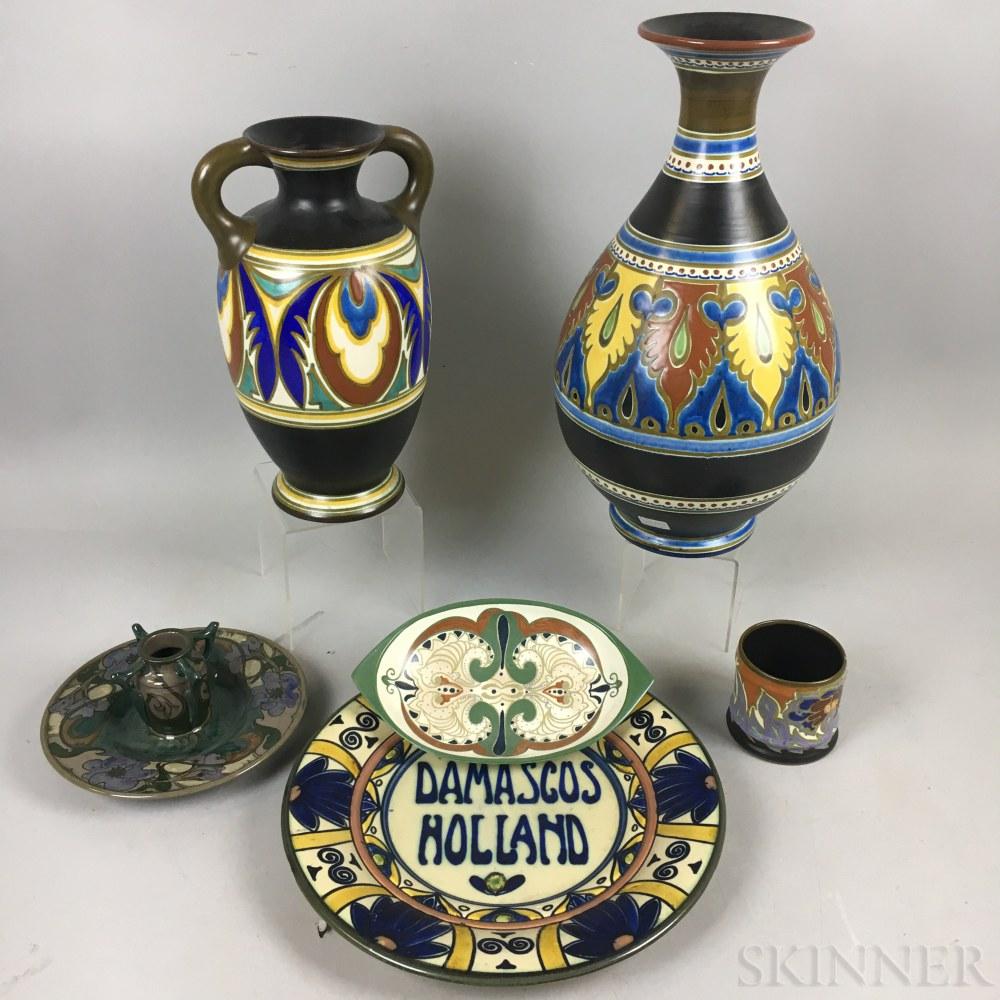 Six Gouda Pottery Items