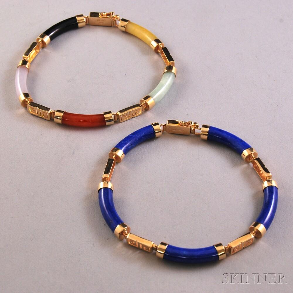 Two 14kt Gold and Hardstone Bracelets