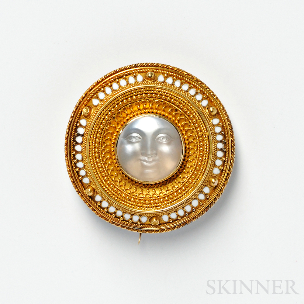 Gold and Carved Moonstone Brooch