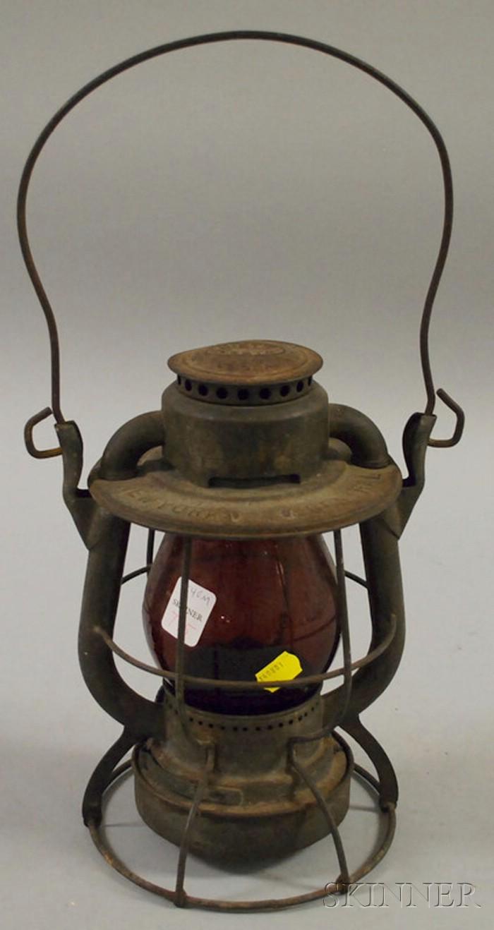 Dietz Vesta New York Central Railroad Tin Kerosene Lantern with Red Molded Glass Globe.