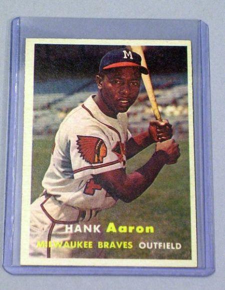 1957 Topps No. 20 Hank Aaron Baseball Card.