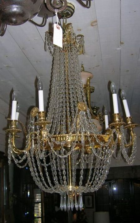 Empire-style Brass Eight-Light Chandelier with Prisms