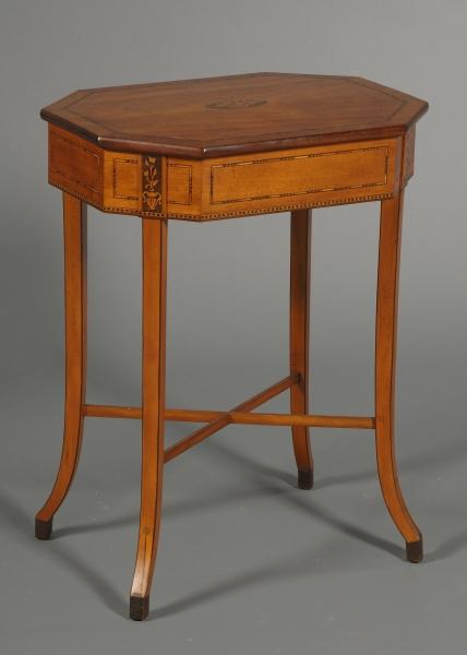 Edwardian Harewood and Boxwood Inlaid Satinwood Work Table