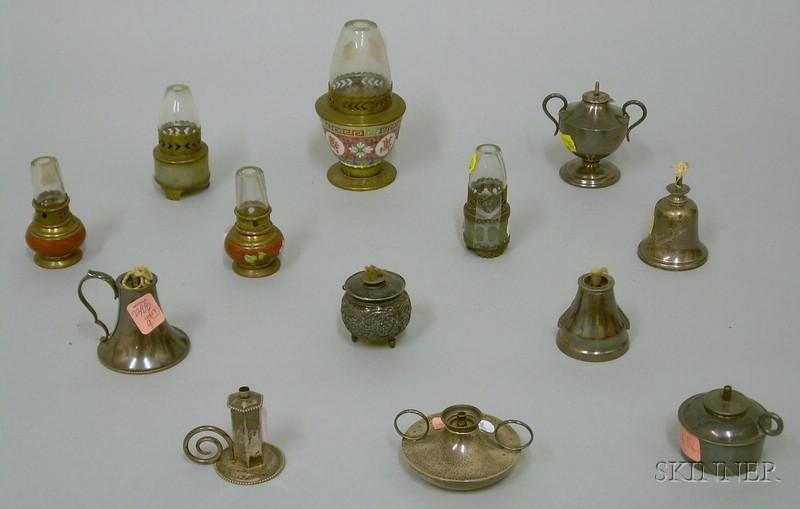 Thirteen Small Fluid Burning Lamps