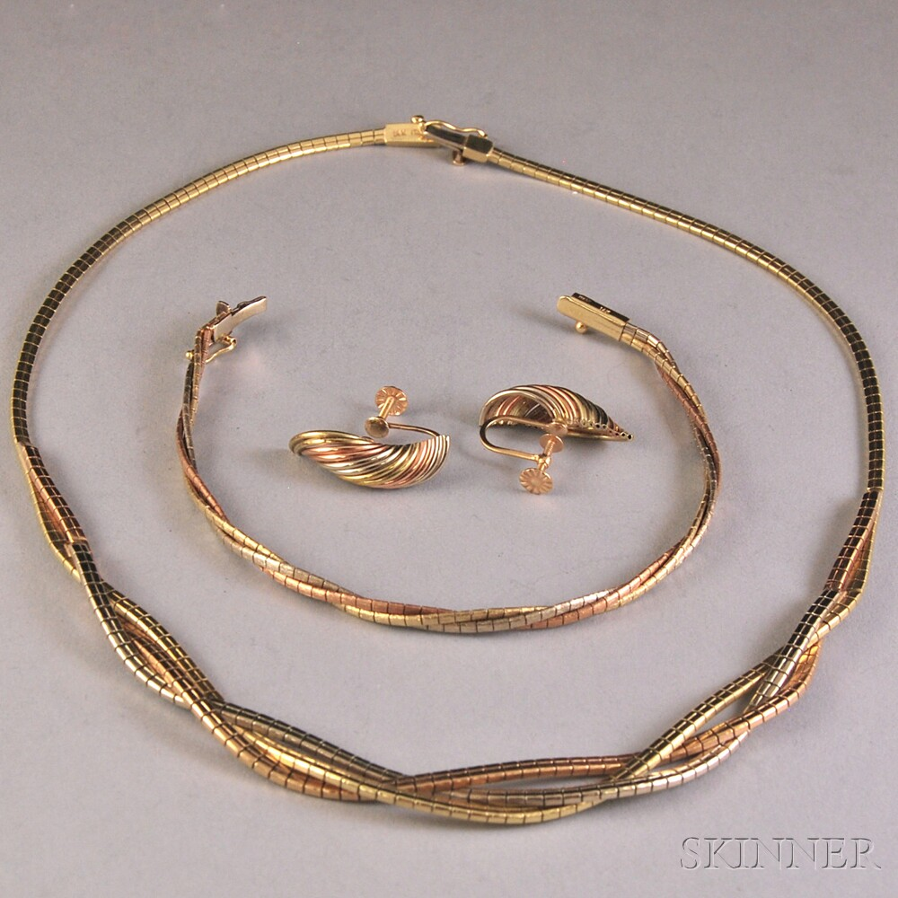 Three Tricolor 14kt Gold Jewelry Items