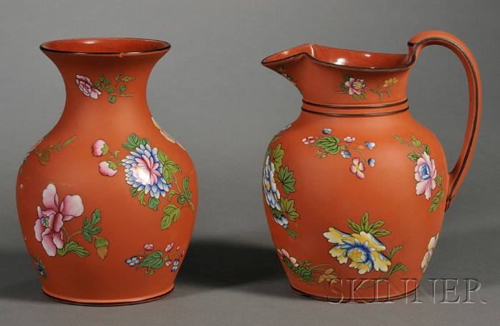 Two Wedgwood Enamel Decorated Rosso Antico Items