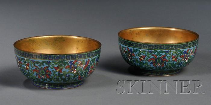 Pair of Cloisonné Enameled Bowls