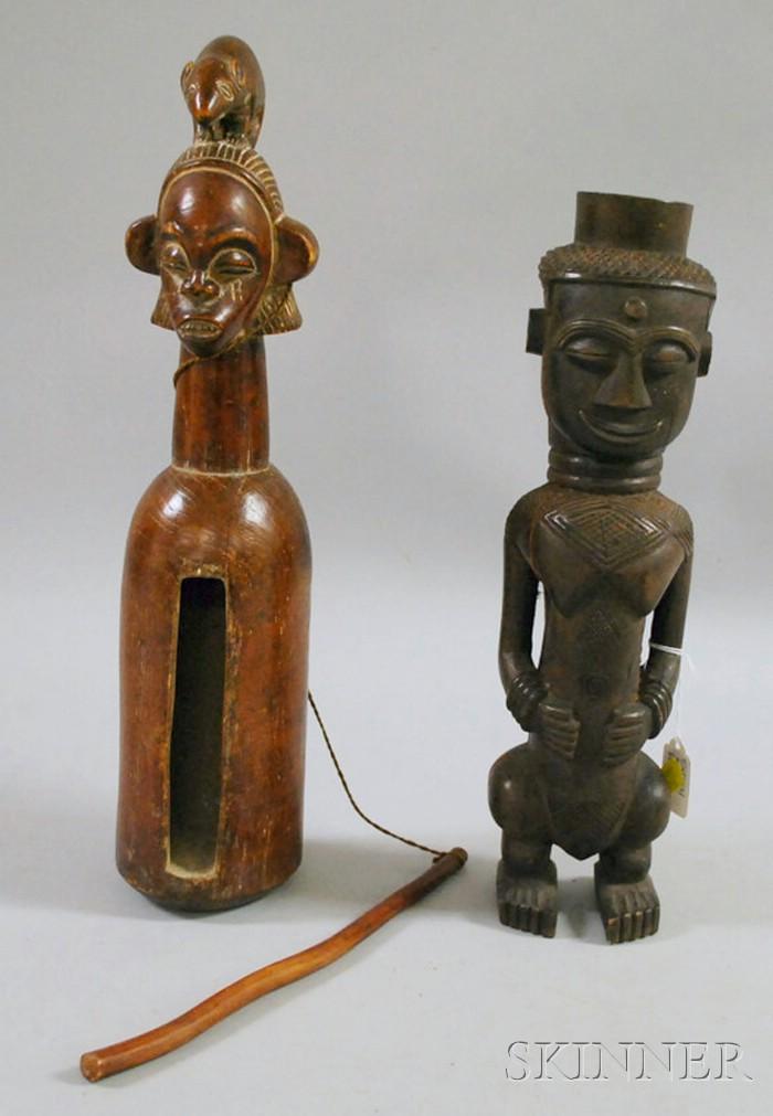 Kuba Female Figure and Yaki Slit Gong.