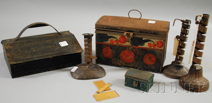 Polychrome Paint-decorated Dome-top Tole Box, a Painted Tin Cutlery Box, and Three Iron Spiral Candlesticks with Wood Bases.