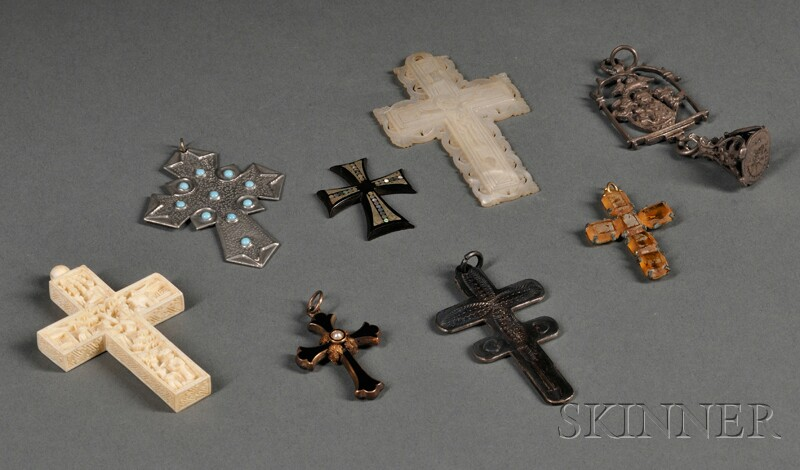 Collection of Approximately Seventy-eight Assorted Crosses, Crucifixes, and Medals
