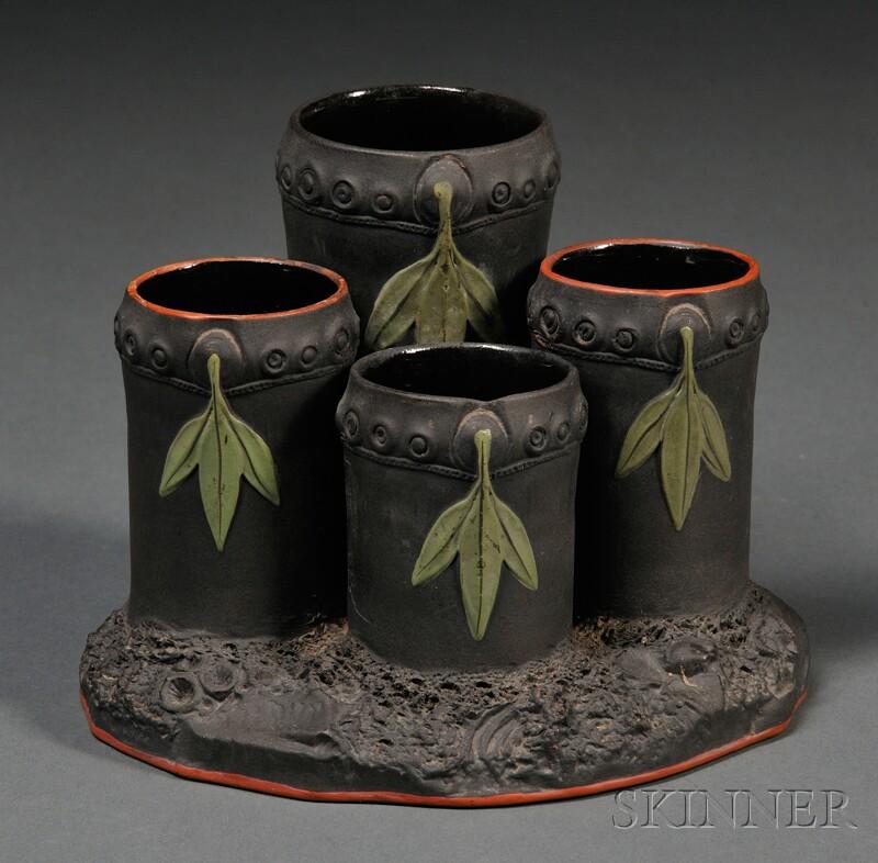 Wedgwood Enameled Black Basalt Bamboo Flower Holder