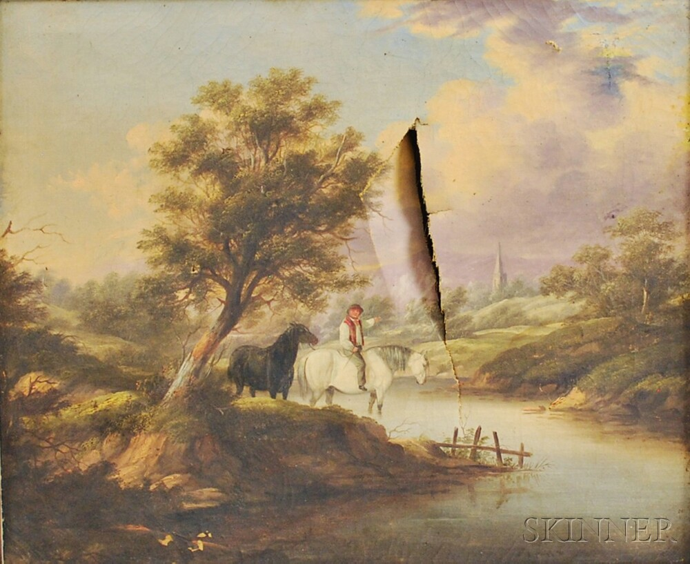 Continental School, 19th Century       River Landscape with a Figure.