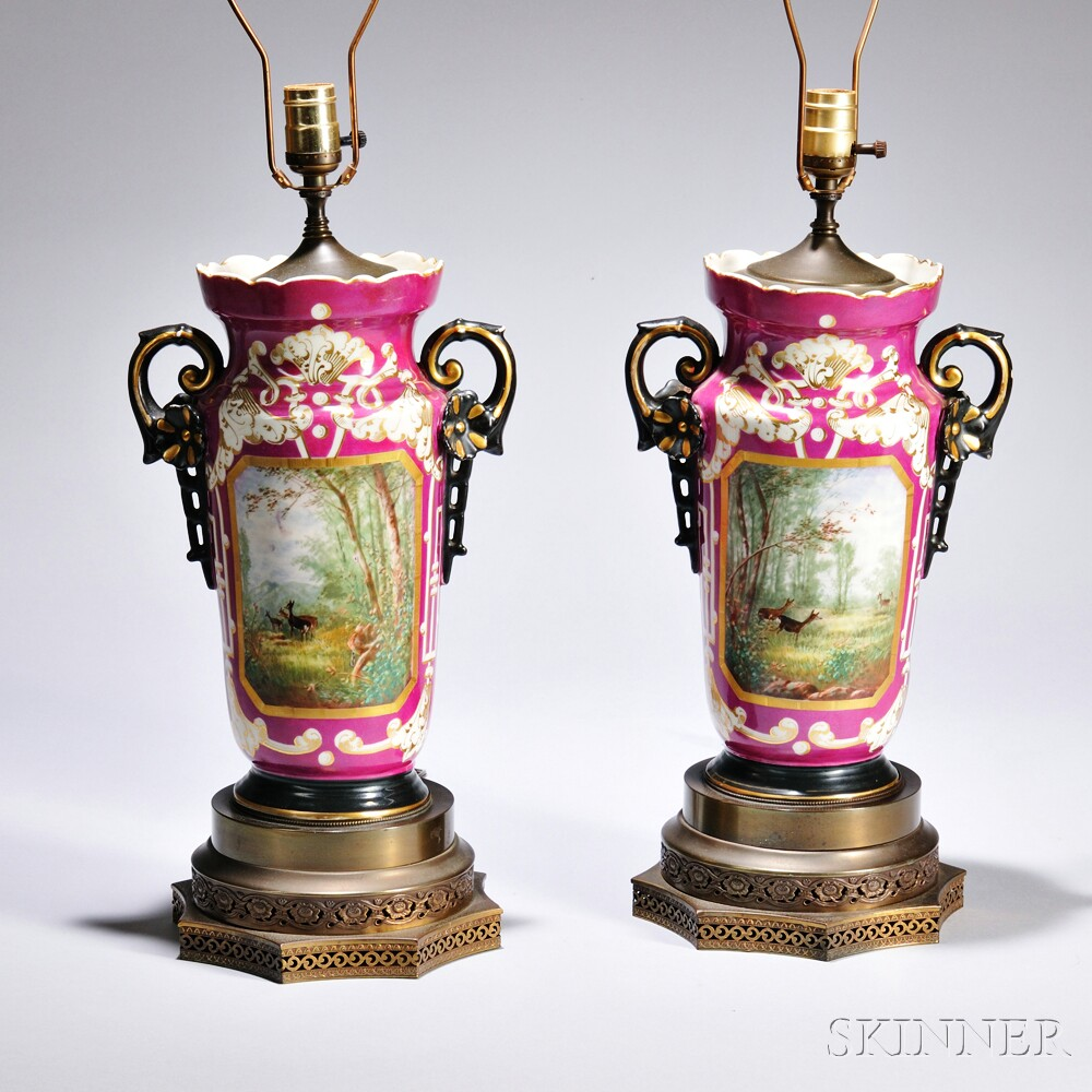 Pair of Limoges Porcelain Lamp Bases