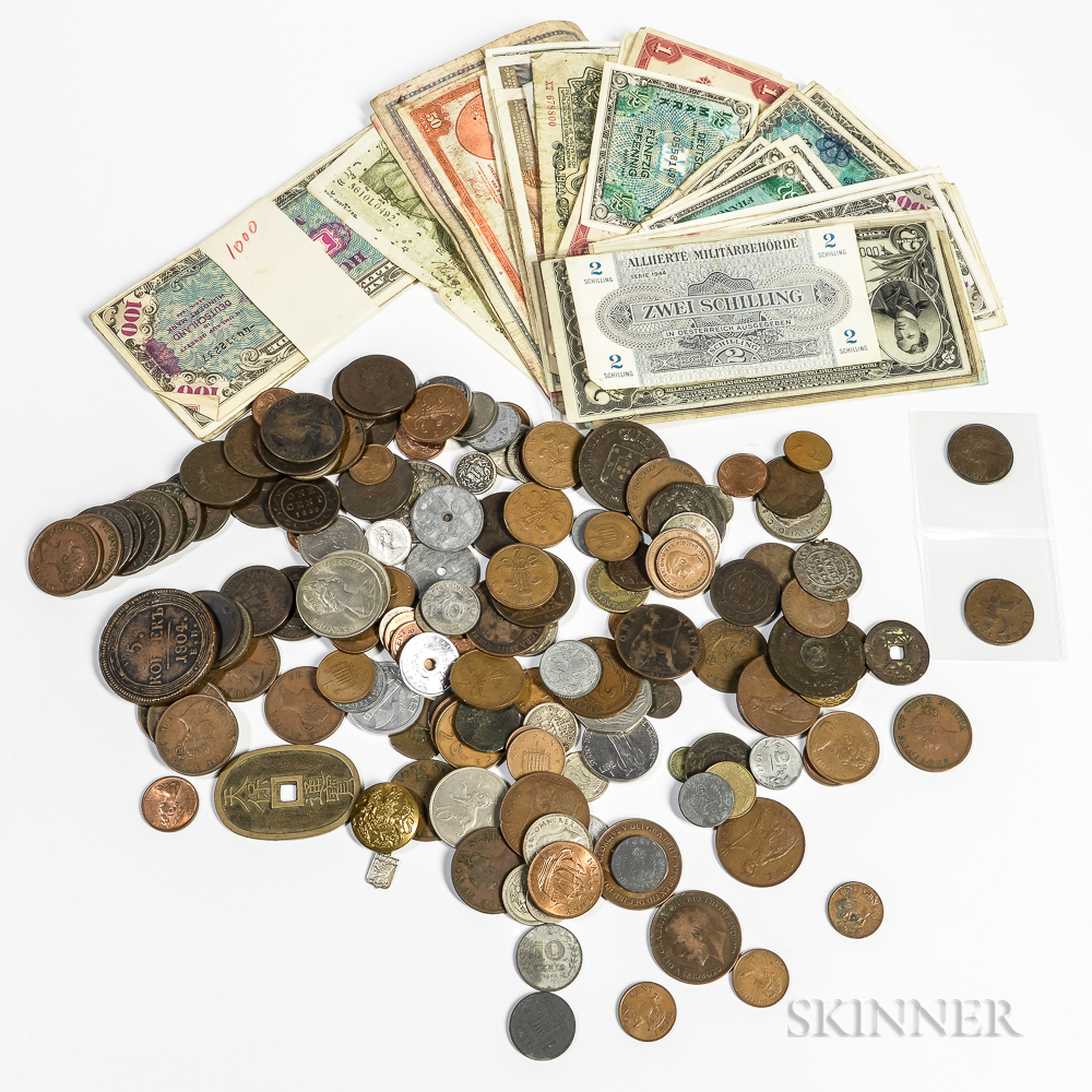 Group of World Coins and Currency