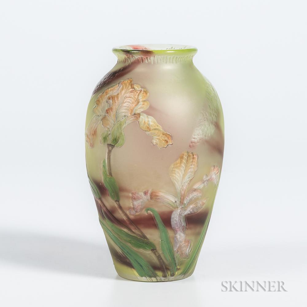Burgun & Schverer Cameo Art Glass Vase