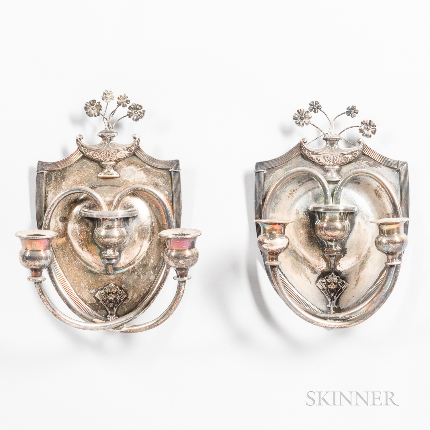 Pair of Silver-plated Two-light Wall Sconces