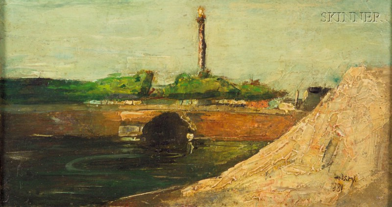Lesser Ury (German, 1861-1931)      River View with Bridge
